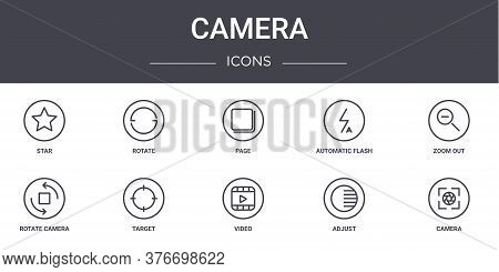 Camera Concept Line Icons Set. Contains Icons Usable For Web, Logo, Ui Ux Such As Rotate, Automatic