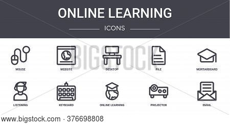 Online Learning Concept Line Icons Set. Contains Icons Usable For Web, Logo, Ui Ux Such As Website,