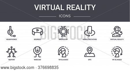 Virtual Reality Concept Line Icons Set. Contains Icons Usable For Web, Logo, Ui Ux Such As Degrees,