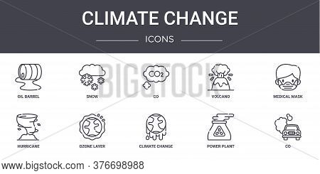 Climate Change Concept Line Icons Set. Contains Icons Usable For Web, Logo, Ui Ux Such As Snow, Volc