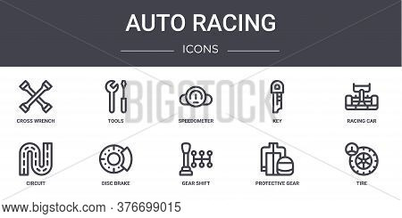 Auto Racing Concept Line Icons Set. Contains Icons Usable For Web, Logo, Ui Ux Such As Tools, Key, C