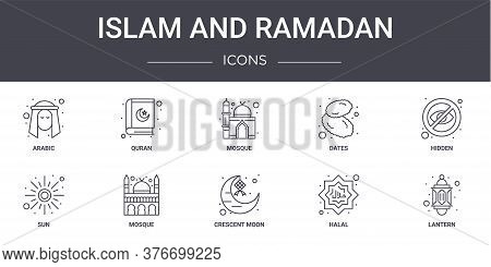 Islam And Ramadan Concept Line Icons Set. Contains Icons Usable For Web, Logo, Ui Ux Such As Quran,