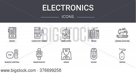 Electronics Concept Line Icons Set. Contains Icons Usable For Web, Logo, Ui Ux Such As Computer Towe