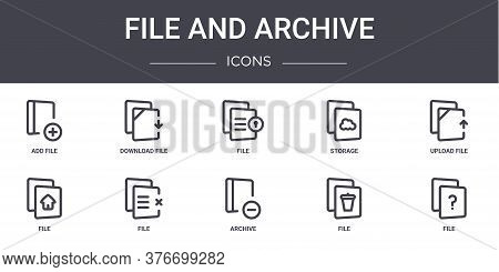 File And Archive Concept Line Icons Set. Contains Icons Usable For Web, Logo, Ui Ux Such As Download