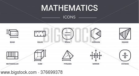 Mathematics Concept Line Icons Set. Contains Icons Usable For Web, Logo, Ui Ux Such As Ruler, Hexago