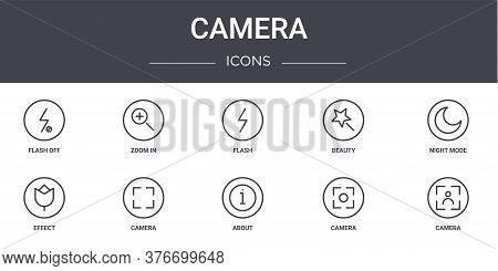 Camera Concept Line Icons Set. Contains Icons Usable For Web, Logo, Ui Ux Such As Zoom In, Beauty, E