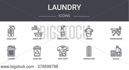 Laundry Concept Line Icons Set. Contains Icons Usable For Web, Logo, Ui Ux Such As Water Tap, Hanger