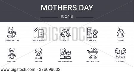 Mothers Day Concept Line Icons Set. Contains Icons Usable For Web, Logo, Ui Ux Such As Mothers Day,