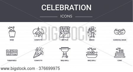 Celebration Concept Line Icons Set. Contains Icons Usable For Web, Logo, Ui Ux Such As Confetti, Dan