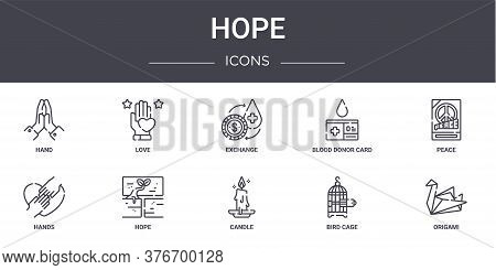 Hope Concept Line Icons Set. Contains Icons Usable For Web, Logo, Ui Ux Such As Love, Blood Donor Ca