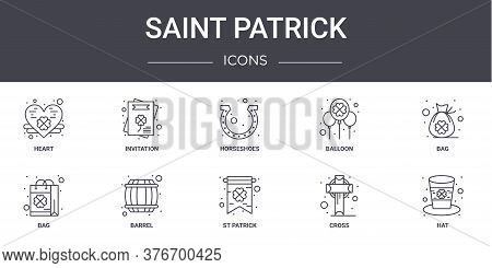 Saint Patrick Concept Line Icons Set. Contains Icons Usable For Web, Logo, Ui Ux Such As Invitation,