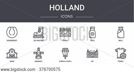 Holland Concept Line Icons Set. Contains Icons Usable For Web, Logo, Ui Ux Such As Ice Skating, Milk