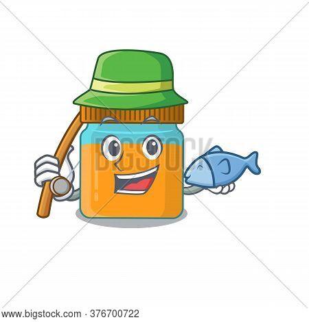 Cartoon Design Style Of Honey Jar Goes To Fishing