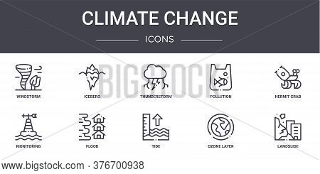 Climate Change Concept Line Icons Set. Contains Icons Usable For Web, Logo, Ui Ux Such As Iceberg, P