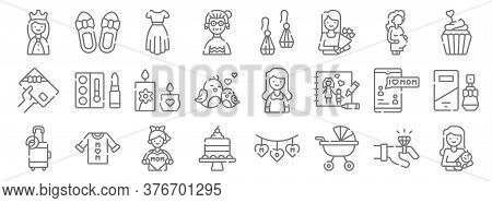 Mothers Day Line Icons. Linear Set. Quality Vector Line Set Such As Mother, Baby Stroller, Cake, Lug