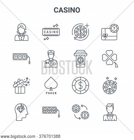 Set Of 16 Casino Concept Vector Line Icons. 64x64 Thin Stroke Icons Such As Casino, Slot Machine, Cl