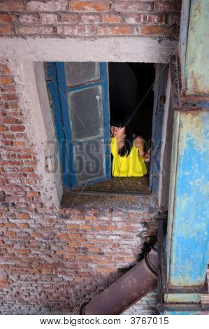 Girl Alone In Window
