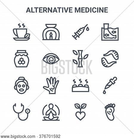 Set Of 16 Alternative Medicine Concept Vector Line Icons. 64x64 Thin Stroke Icons Such As Aromathera