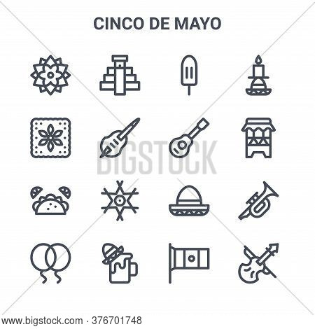 Set Of 16 Cinco De Mayo Concept Vector Line Icons. 64x64 Thin Stroke Icons Such As Chichen Itza Pyra