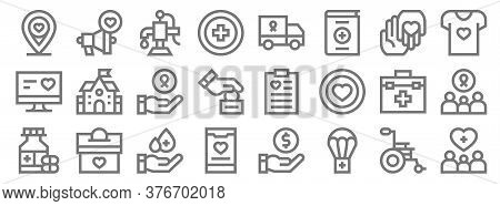 Charity Line Icons. Linear Set. Quality Vector Line Set Such As Support, Parachute, App, Medicines,