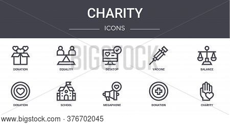 Charity Concept Line Icons Set. Contains Icons Usable For Web, Logo, Ui Ux Such As Equality, Vaccine