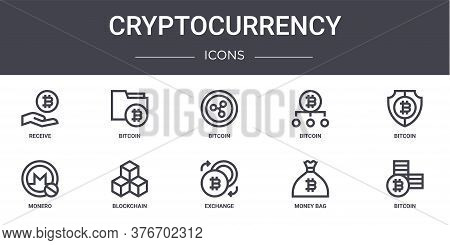 Cryptocurrency Concept Line Icons Set. Contains Icons Usable For Web, Logo, Ui Ux Such As Bitcoin, B