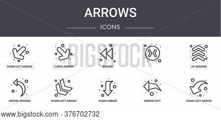 Arrows Concept Line Icons Set. Contains Icons Usable For Web, Logo, Ui Ux Such As Curve Arrow, , Arr