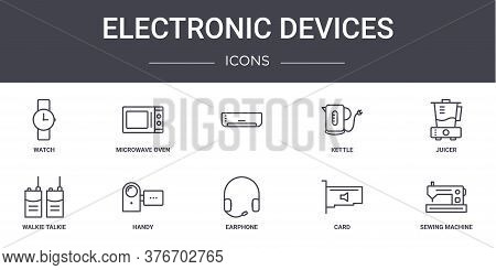 Electronic Devices Concept Line Icons Set. Contains Icons Usable For Web, Logo, Ui Ux Such As Microw