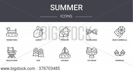 Summer Concept Line Icons Set. Contains Icons Usable For Web, Logo, Ui Ux Such As Lemon, Sunglasses,
