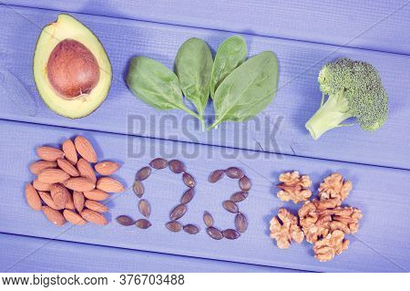Vintage Photo, Ingredients Containing Omega 3 Acids, Unsaturated Fats And Dietary Fiber, Healthy Nut
