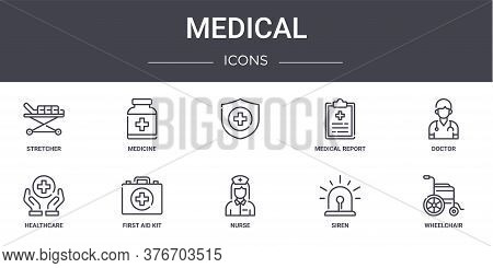 Medical Concept Line Icons Set. Contains Icons Usable For Web, Logo, Ui Ux Such As Medicine, Medical
