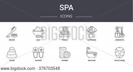 Spa Concept Line Icons Set. Contains Icons Usable For Web, Logo, Ui Ux Such As Salt, Bathrobe, Stone