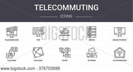 Telecommuting Concept Line Icons Set. Contains Icons Usable For Web, Logo, Ui Ux Such As Vpn, Server
