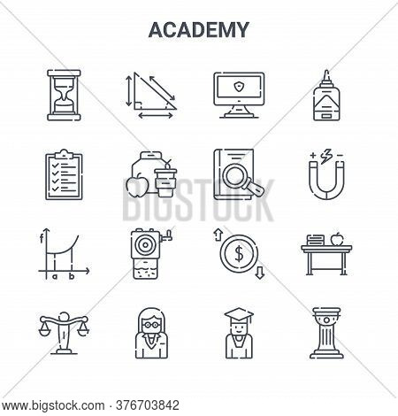 Set Of 16 Academy Concept Vector Line Icons. 64x64 Thin Stroke Icons Such As Trigonometry, List, Phy