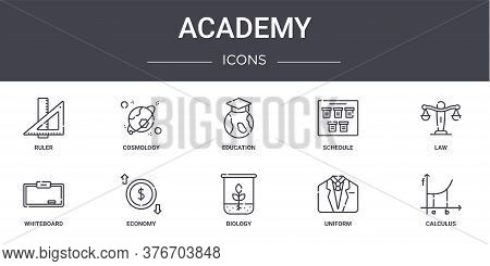 Academy Concept Line Icons Set. Contains Icons Usable For Web, Logo, Ui Ux Such As Cosmology, Schedu