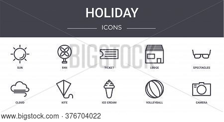Holiday Concept Line Icons Set. Contains Icons Usable For Web, Logo, Ui Ux Such As Fan, Lodge, Cloud