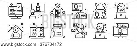 12 Set Of Linear Work From Home Icons. Thin Outline Icons Such As Conference, Mails, Video Call, Tra