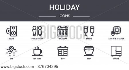 Holiday Concept Line Icons Set. Contains Icons Usable For Web, Logo, Ui Ux Such As Public Toilet, Dr