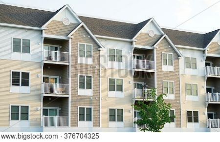 Close Up On Modern Rental Apartment Building