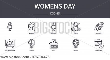Womens Day Concept Line Icons Set. Contains Icons Usable For Web, Logo, Ui Ux Such As Woman, Eight,