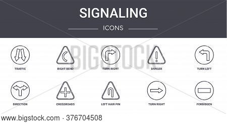 Signaling Concept Line Icons Set. Contains Icons Usable For Web, Logo, Ui Ux Such As Right Bend, Dan