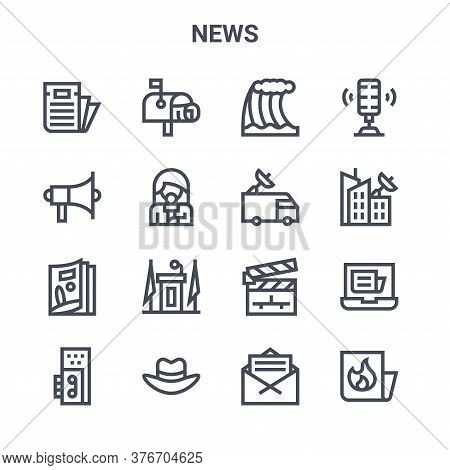 Set Of 16 News Concept Vector Line Icons. 64x64 Thin Stroke Icons Such As Mailbox, Propaganda, Broad