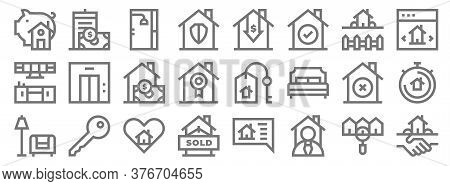 Real Estate Line Icons. Linear Set. Quality Vector Line Set Such As Agreement, Real Estate Agent, So