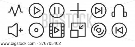 12 Set Of Linear Multimedia Icons. Thin Outline Icons Such As Back, Minimize, Record, Next, Pause, P