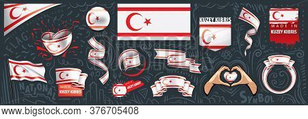 Vector Set Of The National Flag Of Northern Cyprus In Various Creative Designs