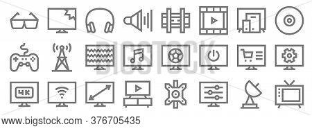 Television Line Icons. Linear Set. Quality Vector Line Set Such As Old Tv, Adjustment, Tv, K, Online
