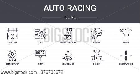 Auto Racing Concept Line Icons Set. Contains Icons Usable For Web, Logo, Ui Ux Such As Tyre, Helmet,