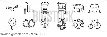 12 Set Of Linear Circus Icons. Thin Outline Icons Such As Bycicle, Unicycle, Hula Hoop, Trampoline,