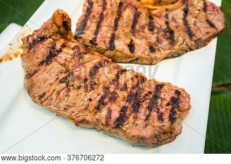 Roast Beef On Plate.