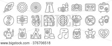 Hippies Line Icons. Linear Set. Quality Vector Line Set Such As Peace, Hippies, Boot, Hookah, No Wea